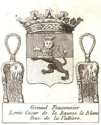 Grand Falconer of France - Coat of arms of Louis César de La Baume Le Blanc (appointed as Grand Falconer in 1748)