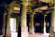 Granite pillars in hall (mantapa) of Aghoreshwara Temple in Ikkeri