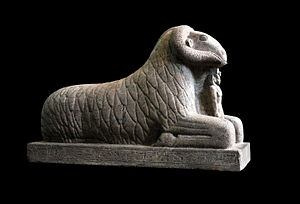 Kawa (Sudan) - Granite ram of Amun with King Taharqa. Twenty-Fifth Dynasty, from Kawa. On display at the British Museum.