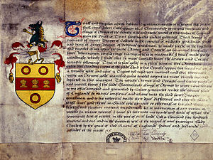 Grant of arms - Grant by Clarenceux King of Arms Robert Cooke to Henry Draper of Colnbrook giving him the right to use the arms illustrated; dated 14th October 1571.  Source:  The National Archives UK