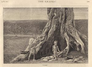 Great Famine of 1876–78 - Engraving from The Graphic, October 1877, showing two forsaken children in the Bellary district of the Madras Presidency.