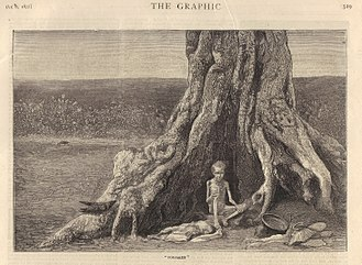 Great Famine of 1876–1878 - Engraving from The Graphic, October 1877, showing two forsaken children in the Bellary district of the Madras Presidency.