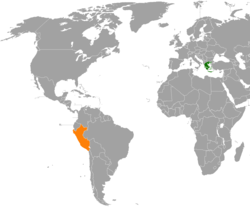 Map indicating locations of Greece and Peru