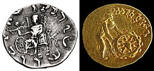 Tillya Tepe Buddhist coin - A coin of Indo-Greek king Menander II (left, circa 90–85 BCE), in which Zeus, through Nike, hands a wreath of victory to a Wheel of the Law.