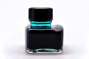 Fountain pen ink - A bottle of green ink