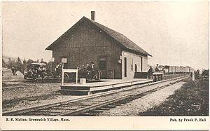 Greenwich, Massachusetts - Early-1900s postcard of Greenwich Village train station