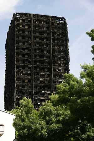 Grenfell Tower fire - Grenfell Tower two days after the fire