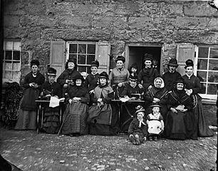 Group of women, (Garn Boduan?)
