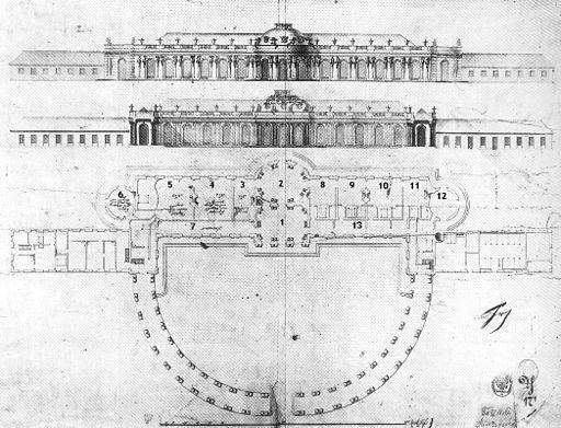 Schloss Sanssouci Grundriss von 1744