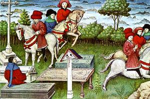 Guido Cavalcanti - Cavalcanti e la Brigata Godereccia in a medieval miniature.