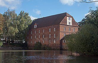 River Wey - The Town Mill at Guildford.  The modern turbine is in the small extension to the right of the main building.
