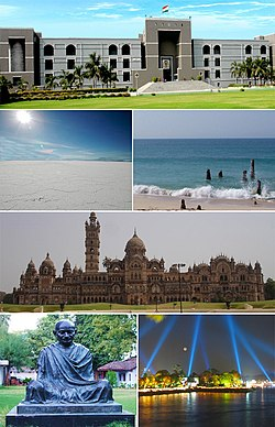 Clockwise from top: Gujarat High Court, Dwarka Beach, Laxmi Vilas Palace, Kankaria Lakefront, Gandhi Ashram, Salt Desert of Kutch