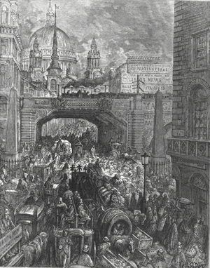 Ludgate Hill - Ludgate Hill – A block in the street, by Gustave Doré (1872)