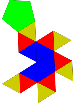 Gyroelongated pentagonal pyramid - Image: Gyroelongated pentagonal pyramid net