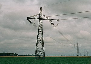 High-voltage direct current - Bipolar system pylons of the Baltic Cable HVDC in Sweden