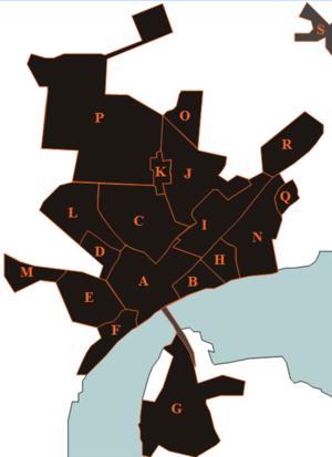Hadsund Syd - Districts and buildings in and around Hadsund: A: Hadsund Center B: Munchs eng C: Rosendal D: Himmerlandsgade (district) E: Pip-district F: Forest-kvarteret G: Hadsund South H: Ved Stranden I: Island-district J: Holterne K: Søndergårde L: Hadsund Huse M: Højmarken N: Rolighed O: Bøgelunden P: Industrial North Q: Molhøj R: Industrial East