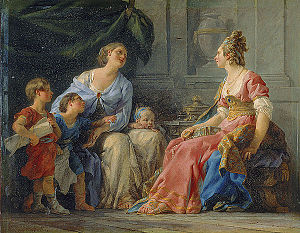 Cornelia Africana - Cornelia, mother of the Gracchi, by Noël Hallé (1779, Musée Fabre)