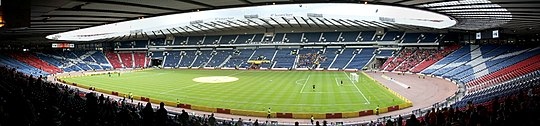 Glasgow is home to Hampden Park, home of the Scotland national football team Hampden Park Panorama.jpg