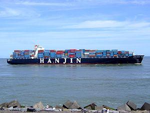 Hanjin Tianjin p6 approaching Port of Rotterdam, Holland 08-Jul-2007.jpg
