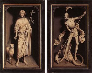 Moreel Triptych - Exterior panels; John the Baptist (left) and Saint George (right)