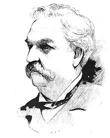 An engraving of a fleshy man in his mid-50s portrayed from the collar up, the man shown having white hair, white bushy eyebrows and a large white mustache, wearing a tuxedo collar, bowtie and jacket, looking to the left