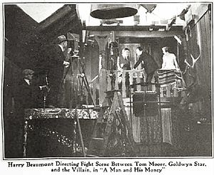 Harry Beaumont - Beaumont directing a scene for the film A Man and His Money (1919)