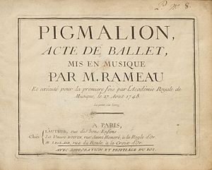 Pigmalion (opera) - Sheet music from original publication, 1748