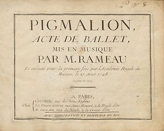 Pigmalion (opera) - Sheet music from original publication, 1748