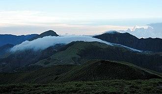 Hehuanshan - Hehuanshan East and Main Peak at sunset from North Peak