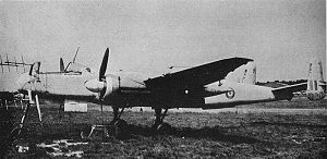 Heinkel He 219 - A 1945 picture of a captured He 219 in British markings. The aircraft is missing its cockpit canopy