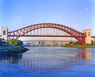 Hell Gate Bridge - Hell Gate Bridge in 2008, with the Triborough Bridge and the Upper East Side skyline in the background
