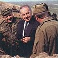 Heydar Aliyev with Azerbaijani warriors in a trench.jpg