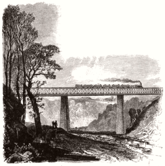 Baltimore and Potomac Railroad - High Bridge over Gwynns Falls stream in west Baltimore for the  Baltimore and Potomac Railroad, in 1872