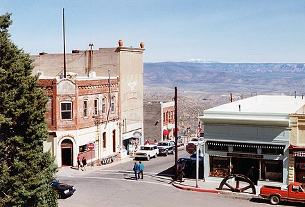 Corner of Main Street and Jerome Avenue in Jerome. Connor Hotel, left. Mine Museum, right. High street Jerome, Arizona.jpg