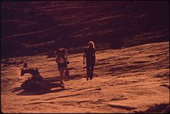 Hikers Terry Mcgaw and Glen Denny on the Trail to Delicate Arch in Arches National Park, 05-1972 (3814165617).jpg