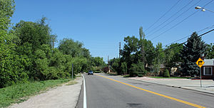 Holly Hills, Colorado - A view of the Holly Hills enclave. The view is looking north on Holly Street, just north of Yale Avenue. The Highline Canal is on the left side of the photo.