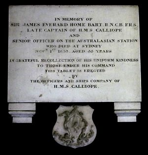 HMS Calliope (1837) - Memorial in St James' Church, Sydney to Sir James Everard Home, one of Calliopes captains