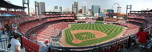 English: Panorama of Busch Stadium in St. Loui...