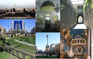 Homs ceety landmarks The Khalid ibn al-Walid mosque  •The interior of the Khalid ibn al-Walid mosque  • The Atassi quairter in the Auld Ceety o HomsHoms ceety centre •The Auld clock square •The Kirk o Saunt Elian