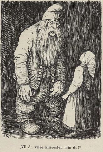 "The Old Dame and her Hen - Man o' the Hill (or Troll) asks ""Will you be my sweetheart?"", by Theodor Kittelsen"