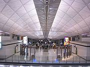 The interior of Terminal 1 at night-time, Hong Kong International Airport.