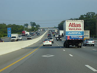 "High-occupancy vehicle lane - A ""semi-HOV"" lane on I-24 in Nashville, Tennessee. These lanes function as HOV lanes only on weekdays during rush hour, and as regular lanes the rest of the time."