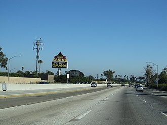 Hawaiian Gardens, California - Interstate 605 (viewed from the southbound lanes) at Hawaiian Gardens, California approaching Hawaiian Gardens Casino