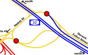 Highway 22 (Israel) - Image: I Ljunction hofshemen