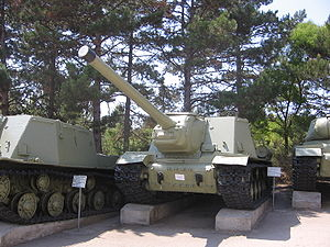 ISU-122 - ISU-122 at the museum on Sapun Mountain, Sevastopol. This vehicle was manufactured in 1944 and is the earlier variant.