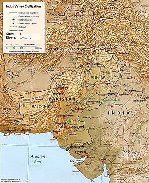 Mohenjo-daro - Map showing the major sites and theorised extent of the Indus Valley Civilisation, including the location of the Mohenjo-daro site