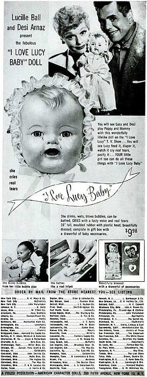 English: Ad for I Love Lucy baby doll.