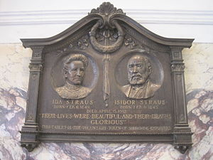 Isidor Straus - The Ida and Isidor Straus Memorial Plaque mounted in the Manhattan Macy's.
