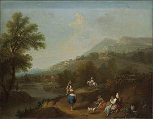 Paysage idyllique avec rivière et figures