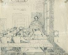 Im Kolleg bei Jacob Grimm, Federzeichnung von Ludwig Emil Grimm Göttingen, 28.Mai 1830, Städtisches Museum Göttingen (Quelle: Wikimedia)